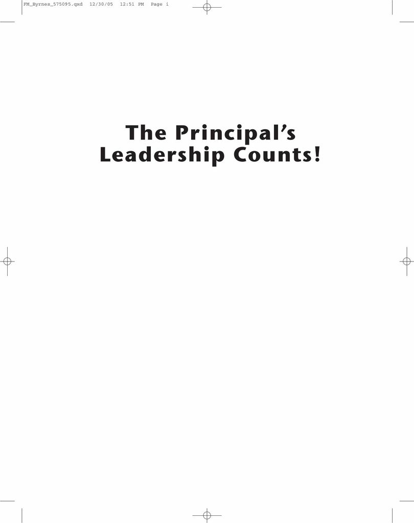 The Principal's Leadership Counts!